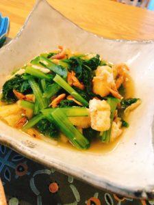 小松菜とサクラエビの煮物